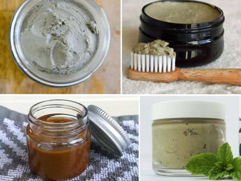 Collage of various bentonite clay toothpastes