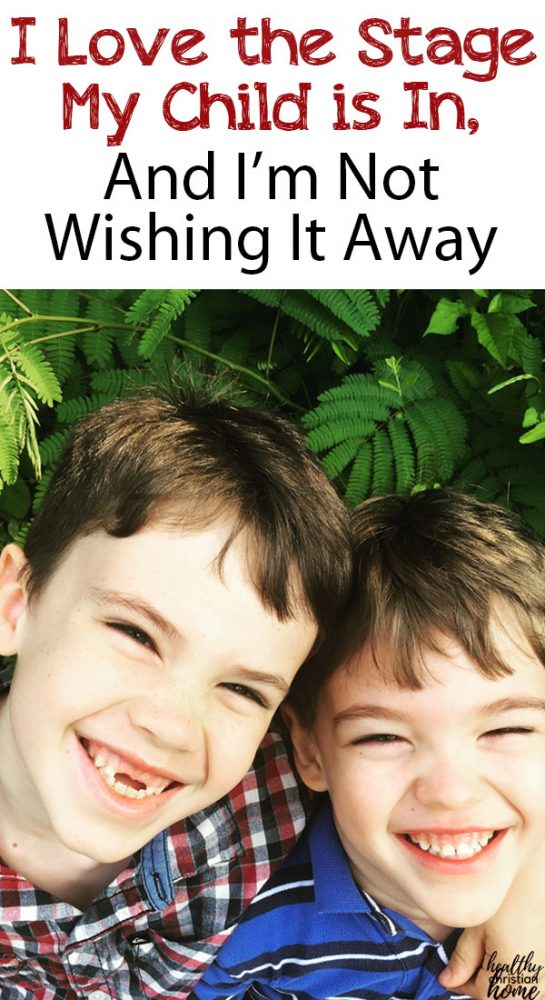 two brothers smiling, with text overlay about enjoying parenting