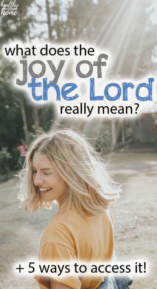 "Girl smiling in the sunshine, with text overlay that says ""the joy of the Lord""."