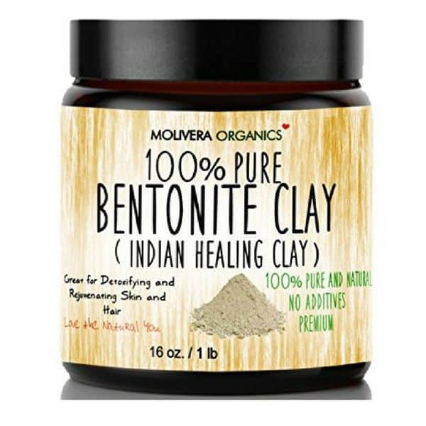 Jar of pure bentonite clay for all natural deodorant.