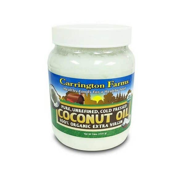 A large tub of coconut oil for diy deodorant on a white background.