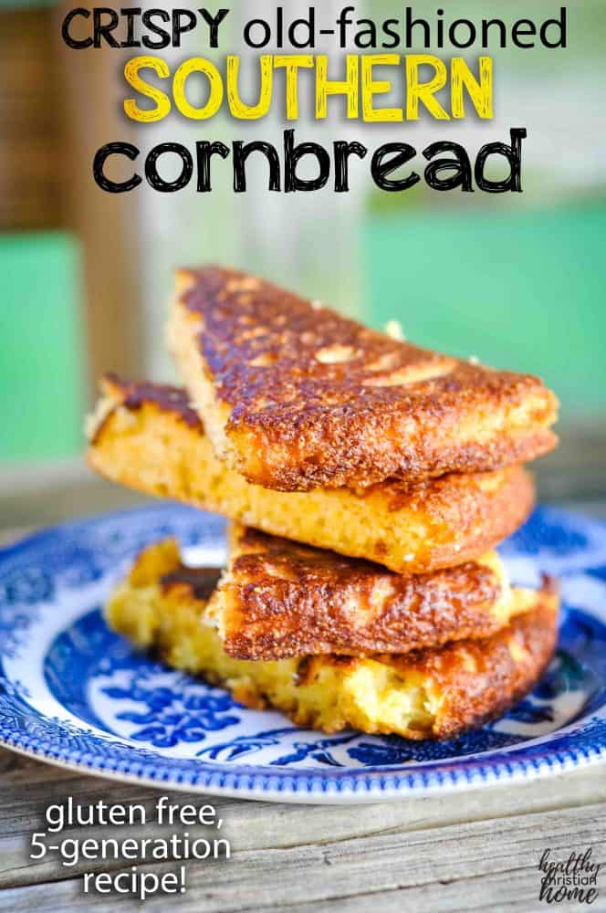 Cornbread stacked vertically on a blue willow plate with text overlay that says Southern Cornbread.