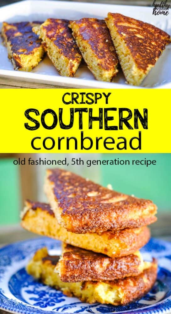 Crispy southern cornbread pinterest image.