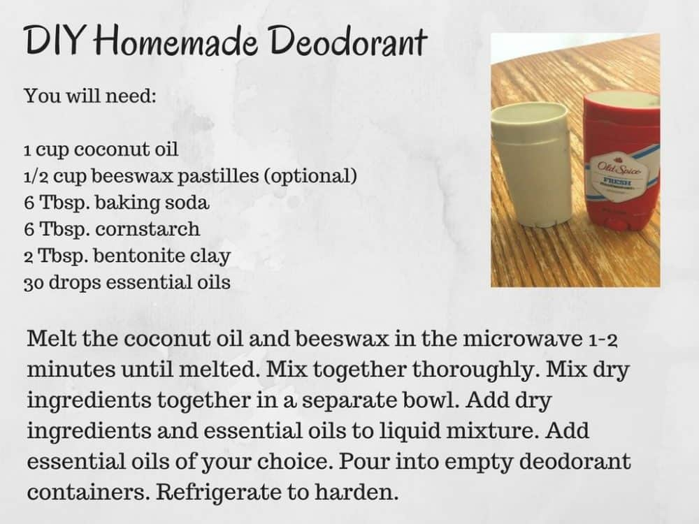 DIY Homemade Deodorant recipe card - simplified version of the recipe text in an image.