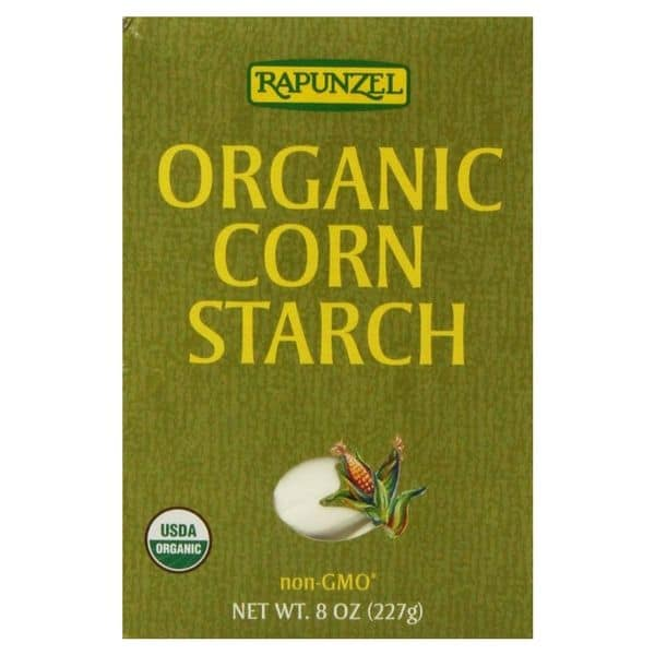 Box of Rapunzel brand organic cornstarch for natural deodorant.
