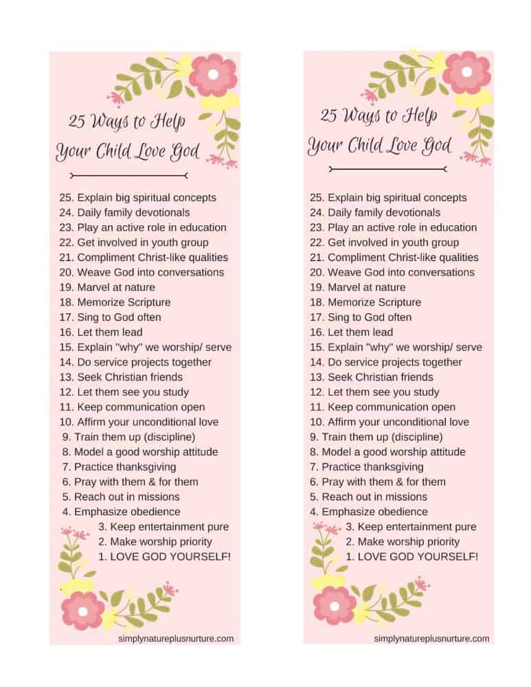"""Introduce My Child to God"" Printable Bookmark Including All 25 Tips from This Post."