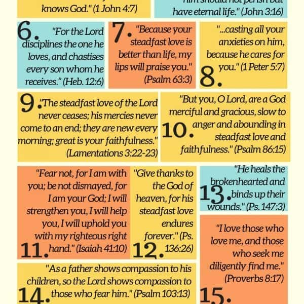 20 Memory Verses for Kids About God's Love (with free printable)