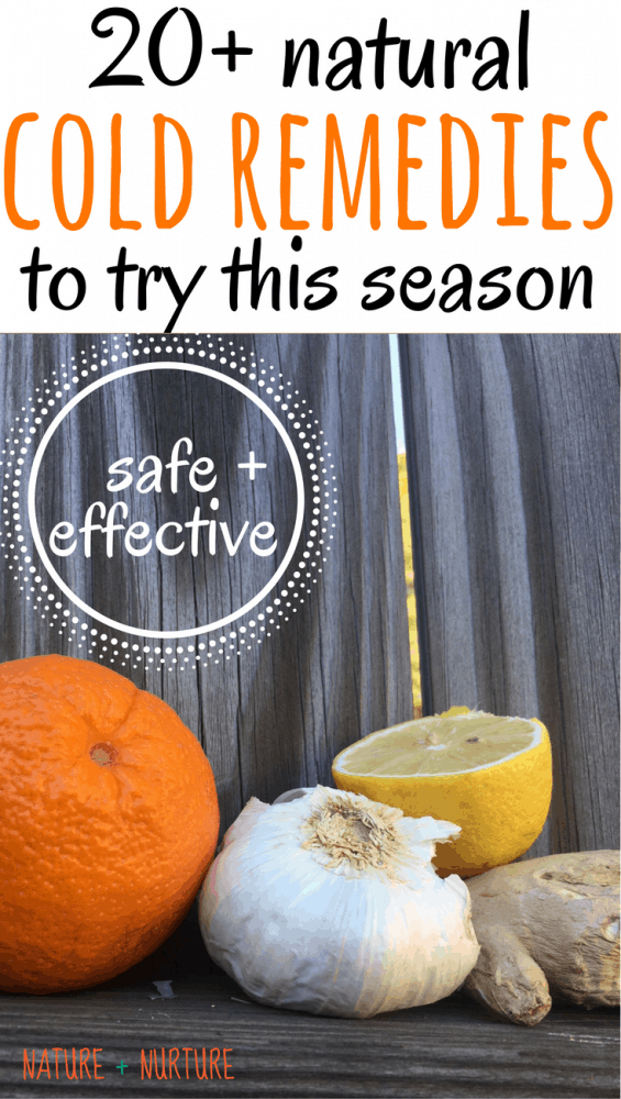 "Home remedies for cold including citrus fruit, garlic, ginger, honey, and essential oils against a wooden backdrop with text overlay reading, ""Natural Cold Remedies to try this season."""