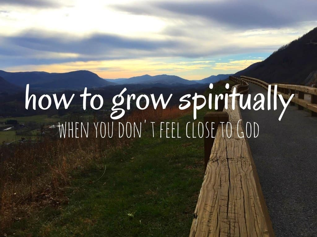 """A mountainous landscape scene with text overlay which says """"how to grow spiritually"""""""