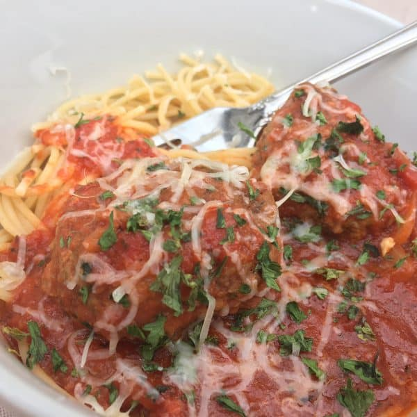 Cheesy, Garlicky Spaghetti and Meatballs