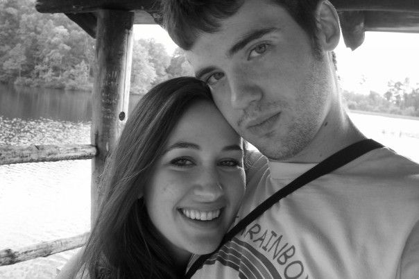 Black and white photo of a man and woman.