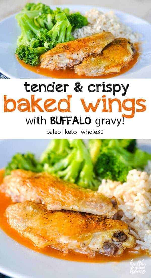 Baking frozen wings is so simple! Here's the perfect method for making them tender on the inside, crispy on the outside. These easy baked chicken wings with buffalo gravy sauce will have your whole family begging for more! #wings #chickenwings #bakedwings #easydinner #chickenrecipes