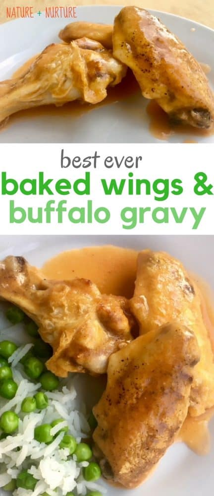 Baking frozen wings is so simple, and this version with homemade buffalo chicken gravy is mouthwatering. These easy baked chicken wings with buffalo gravy wing sauce will have your whole family begging for more!