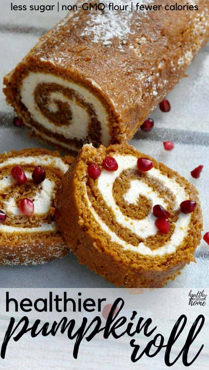 A healthy pumpkin roll recipe with non-GMO flour, less sugar, lighter cream cheese, and fewer calories is just what you need for your holiday table! A few slight alterations make this easy pumpkin roll recipe much healthier and lighter, but it tastes just as good as the original! #healthychristianhome #holidayrecipes #pumpkin #pumpkinroll #fallfood #pumpkinrecipes