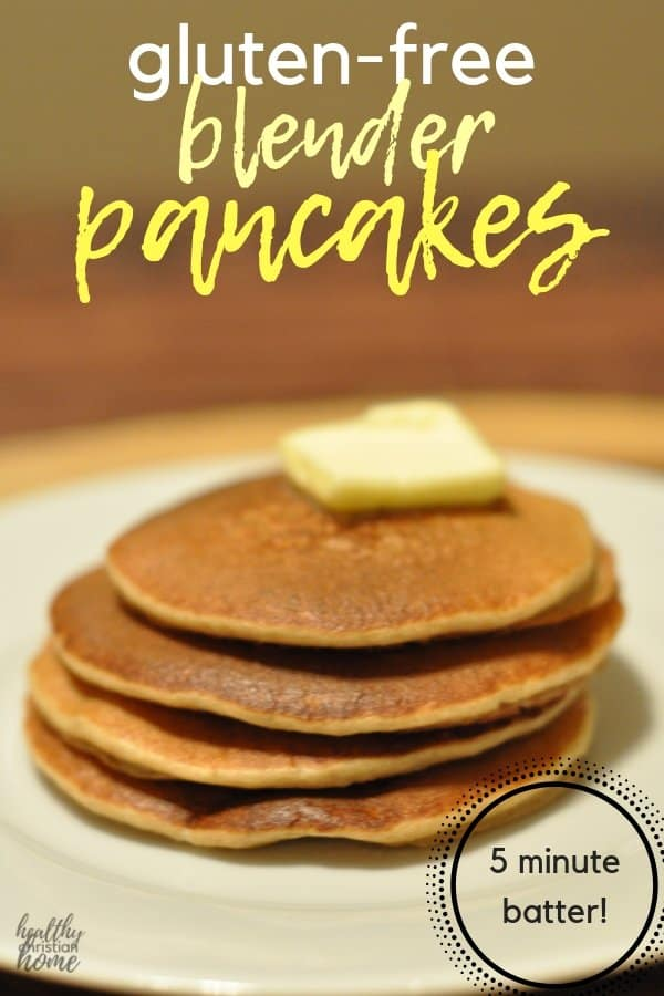 Mix up the batter for these easy blender pancakes in 5 minutes! Filled with healthy ingredients like oats, bananas, eggs, and yogurt to power your morning. #pancakes #glutenfree