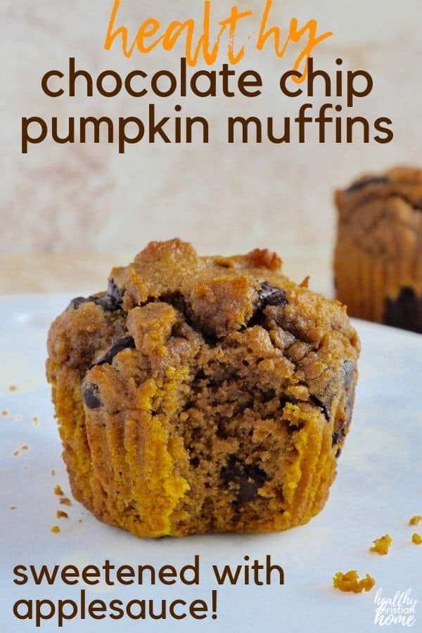 Healthy pumpkin chocolate chip muffins are the perfect low-sugar breakfast or snack during the holidays! A welcome reprieve from sugar-laden holiday desserts, these low sugar healthy pumpkin muffins are sweetened with applesauce and maple syrup. #pumpkin #muffins #healthybreakfast