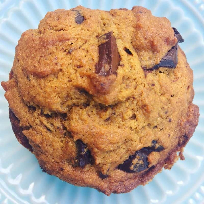 Healthy pumpkin chocolate chip muffin on a blue vintage plate.