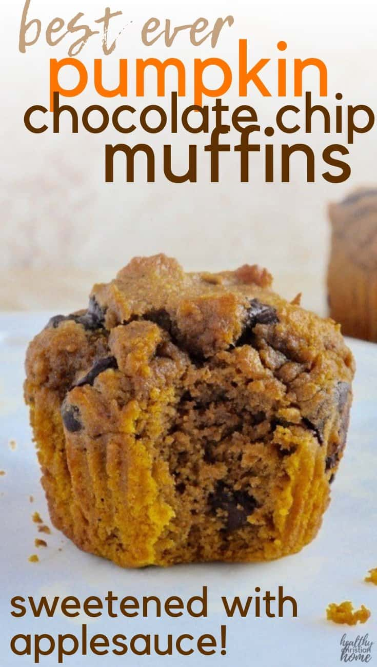 Healthy pumpkin chocolate chip muffins are the perfect low-sugar breakfast or snack during the holidays! A welcome reprieve from sugar-laden holiday desserts, these low sugar healthy pumpkin muffins are sweetened with applesauce and maple syrup. #healthychristianhome #fall #pumpkin #muffins #healthybreakfast