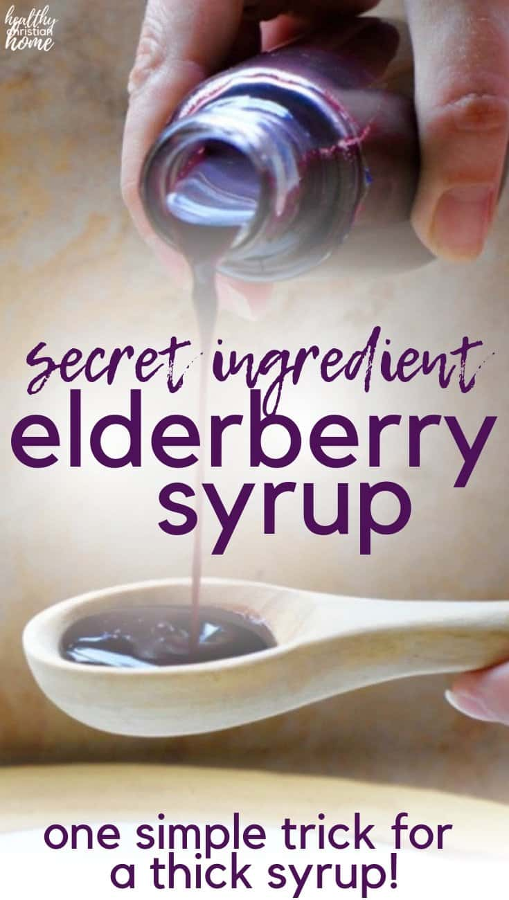 THICK elderberry syrup a perfect immune-boosting remedy for cold + flu season. Most recipes are too thin, but arrowroot powder provides a real syrup consistency. It's the same nutritional profile and cold-fighting power in a thicker formula! #healthychristianhome #elderberry #elderberrysyrup #coldremedy #remedies #naturalremedies