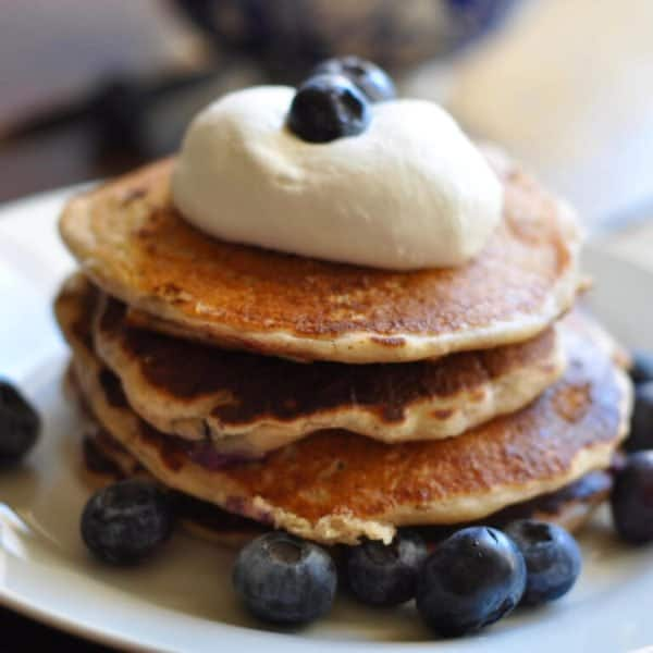 Soaked Blueberry Yogurt Pancakes (gut-friendly)