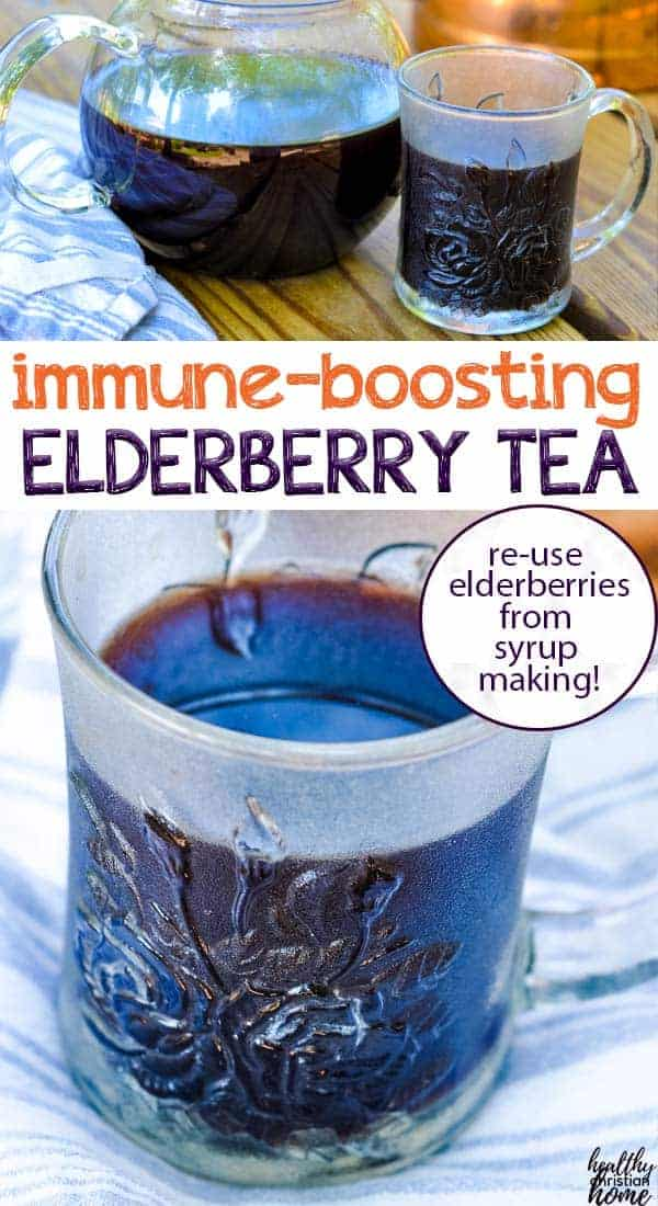 This simple, immune boosting elderberry tea is made with leftover berries from your elderberry syrup making session! Don't let your leftover berries go to waste - squeeze out every last drop of goodness with this frugal pot of tea.