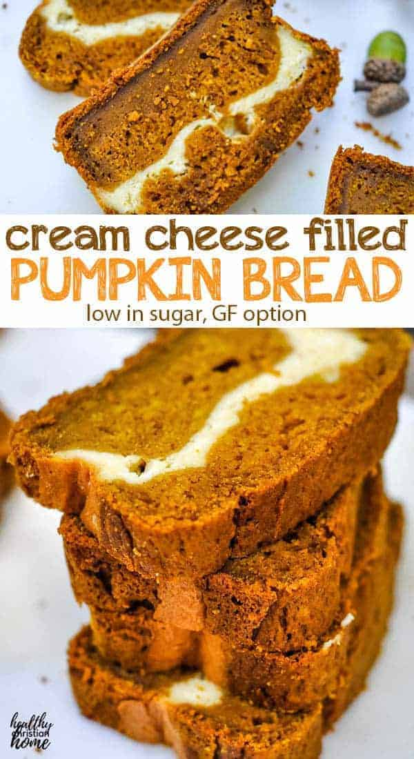Soft and moist pumpkin bread and a decadent cream cheese filling come together to create the ultimate fall breakfast or snack! Even better, this pumpkin cream cheese bread is low in sugar so it won't derail your plans to eat healthy during the holidays. #pumpkin #pumpkinbread #falldessert #thanksgiving #fallfood #creamcheese #lowsugar