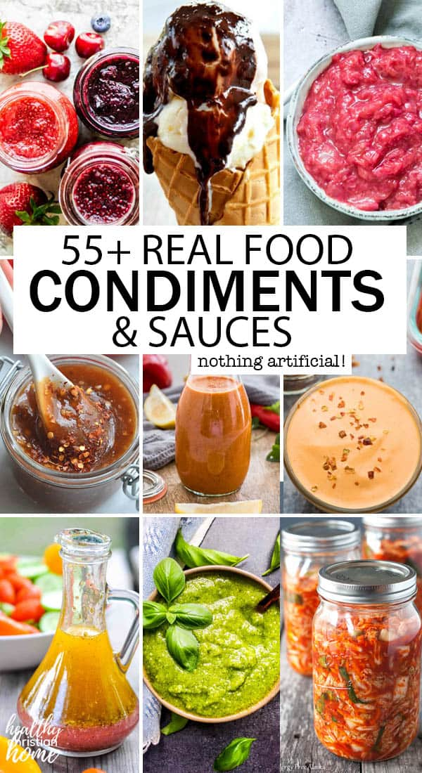Condiments and sauce images in a pinterest collage.