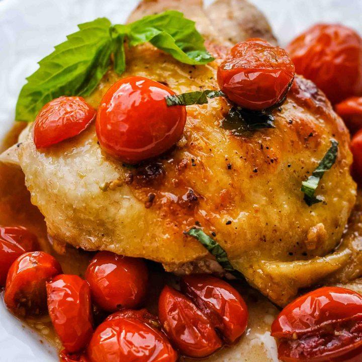 Tomato-Basil Balsamic Chicken Thighs