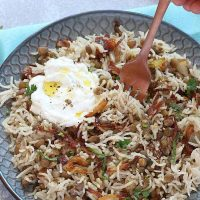 Instant pot Mujadara - Lebanese Rice and Lentil with Fried Onions