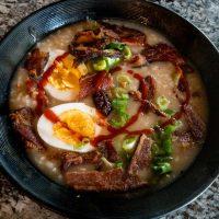 Breakfast Congee – Rice Porridge with Bacon and Egg