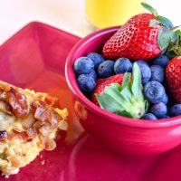Gluten Free Instant Pot Breakfast Strata with Bacon, Onion & Asparagus