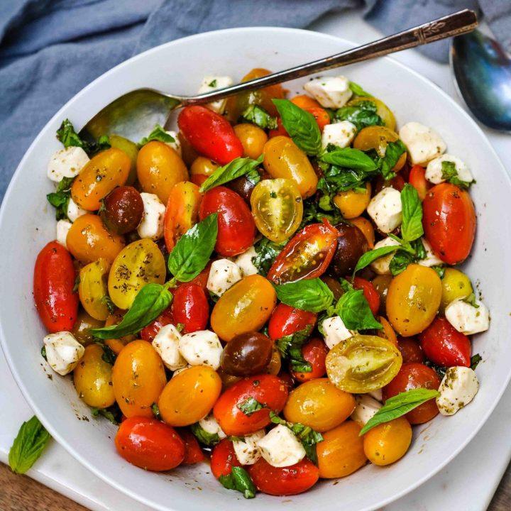 Caprese Salad with Grape Tomatoes & Mini Mozzarella Balls