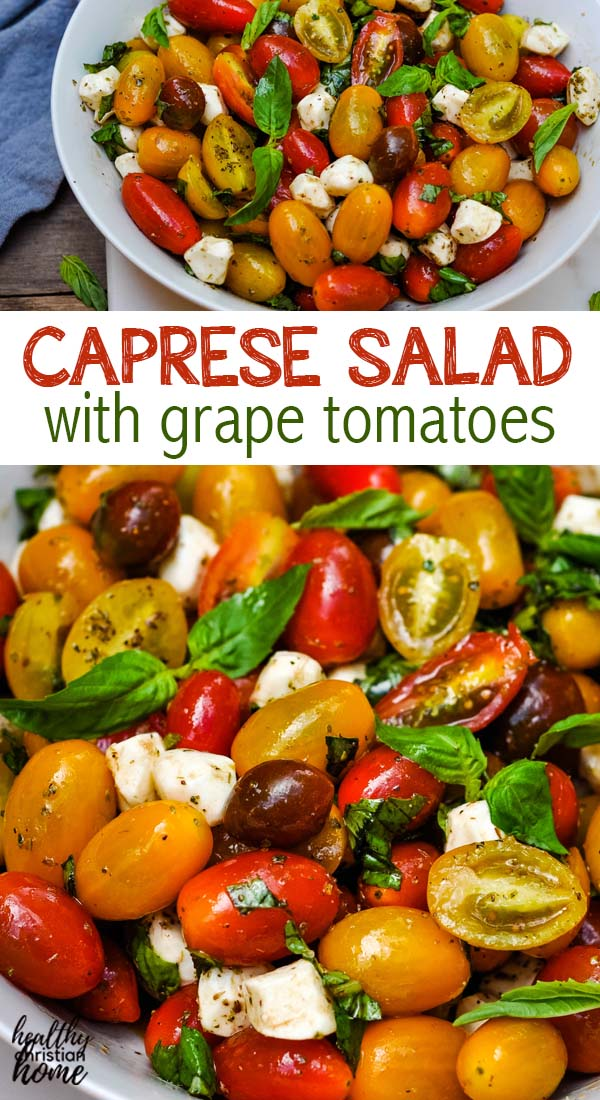 Caprese salad recipe in a bowl with silver spoon.