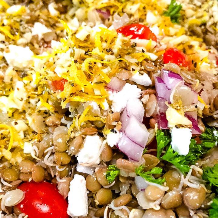 Sprouted Lemon-y Lentil Salad with Feta